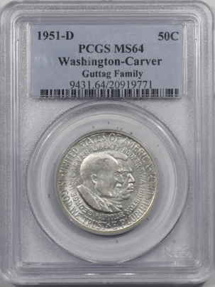 New Certified Coins 1951-D WASHINGTON-CARVER COMMEMORATIVE HALF DOLLAR – PCGS MS-64 GUTTAG FAMILY!