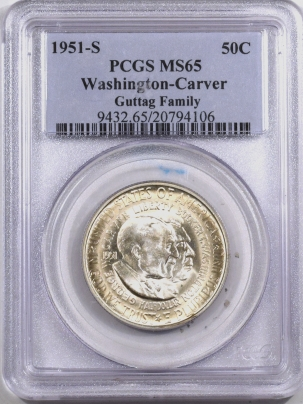 New Certified Coins 1951-S WASHINGTON-CARVER COMMEMORATIVE HALF DOLLAR – PCGS MS-65 PQ GUTTAG FAMILY