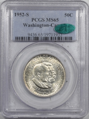 CAC Approved Coins 1952-S WASHINGTON-CARVER COMMEM HALF DOLLAR – PCGS MS-65 PQ & CAC APPROVED!