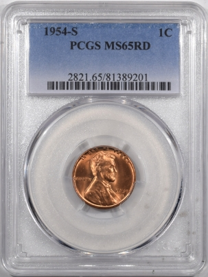 Lincoln Cents (Wheat) 1954-S LINCOLN CENT – PCGS MS-65 RD