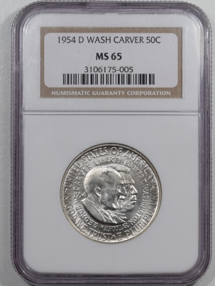 New Certified Coins 1954-D WASHINGTON-CARVER COMMEMORATIVE HALF DOLLAR – NGC MS-65