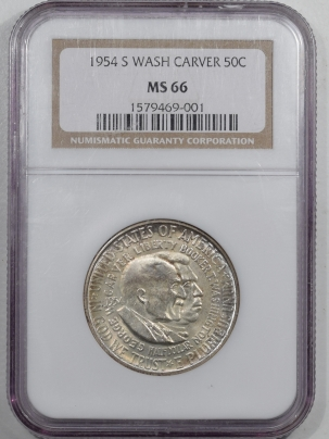 New Certified Coins 1954-S WASHINGTON-CARVER COMMEMORATIVE HALF DOLLAR – NGC MS-66
