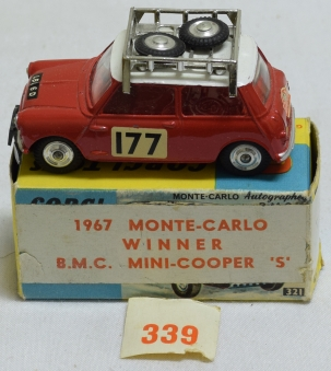 Vintage Diecast Toys CORGI #339 1966 MONTE-CARLO MINI COOPER S, NEAR-MINT W/ VG/EXC CORRECT BOX
