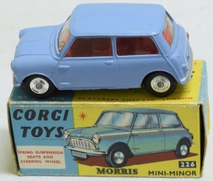 Vintage Diecast Toys CORGI #226 MORRIS MINI MINOR, LIGHT BLUE W/ RED INTERIOR, SPUN HUBS, NR-MINT/BOX