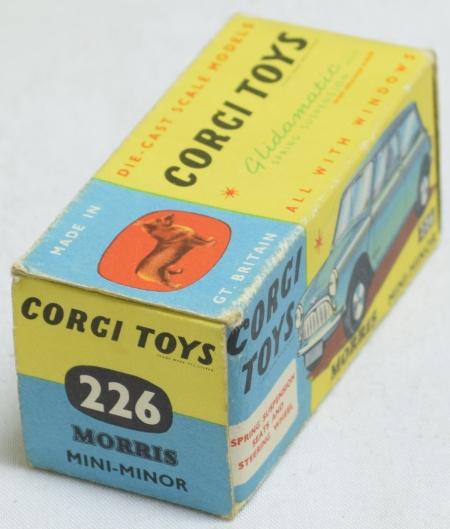 Vintage Diecast Toys CORGI #226 MORRIS MINI MINOR, LIGHT BLUE W/ RED INTERIOR, SPUN HUBS, NR-MINT/BOX
