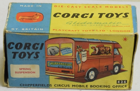 Vintage Diecast Toys CORGI #426 CHIPPERFIELDS CIRCUS MOBILE BOOKING OFFICE, NR-MINT, VG ORIGINAL BOX