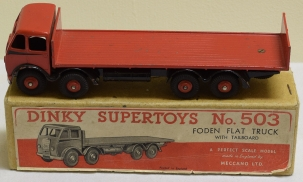 Dinky DINKY #503 FODEN FLAT TRUCK W/ TAILBOARD, RED & BLACK FLASH, EXC W/ VG BOX, RARE