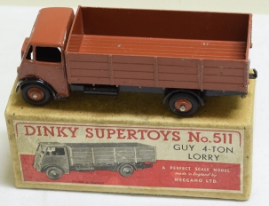 Dinky DINKY #511 GUY 4 TON LORRY, RED-BROWN CAB, CHASSIS & HUBS, 1st TYPE CAB, VG+/BOX
