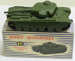 Dinky DINKY SUPERTOYS #651 CENTURION TANK, NEAR MINT W/ EXC BLUE-STRIPED BOX