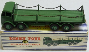 Dinky DINKY #905 FODEN FLAT TRUCK W/ CHAINS, GREEN, NEAR-MINT W/ EXC BLUE STRIPED BOX