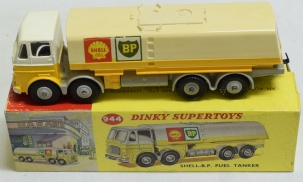 Dinky DINKY #944 SHELL BP FUEL TANKER, GREY CHASSIS & HUBS, EXC MODEL, EXC CORRECT BOX