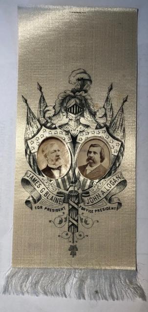 New Certified Coins 1884 JAME BLAINE & LOGAN 4.5″ x 2.5″ SILK JUGATE RIBBON W/ INSET PHOTOS PRISTINE