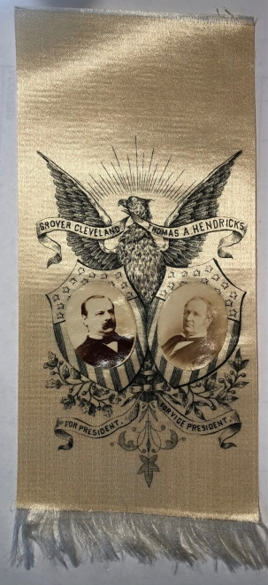 New Certified Coins 1884 GROVER CLEVELAND & HENDRICKS 4.5″ x 2.5″ SILK JUGATE RIBBON W/ INSET PHOTOS