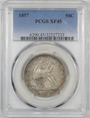 Half Dollars 1857 LIBERTY SEATED HALF DOLLAR PCGS XF-45, NICE ORIGINAL