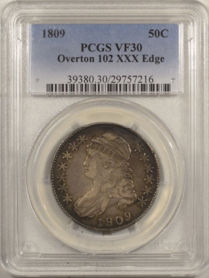 Coin World/Numismatic News Featured Coins 1809 CAPPED BUST HALF DOLLAR, O-102, XXX-EDGE – PCGS VF-30, ORIGINAL & PRETTY
