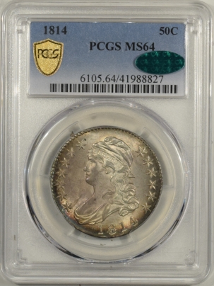 CAC Approved Coins 1814 CAPPED BUST HALF DOLLAR PCGS MS-64 CAC, FLASHY, FRESH & STUNNING NEAR GEM!