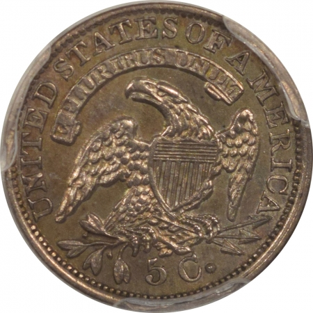 New Certified Coins 1835 CAPPED BUST HALF DIME – LAREGE DATE, LARGE 5C – PCGS AU-55, PRETTY