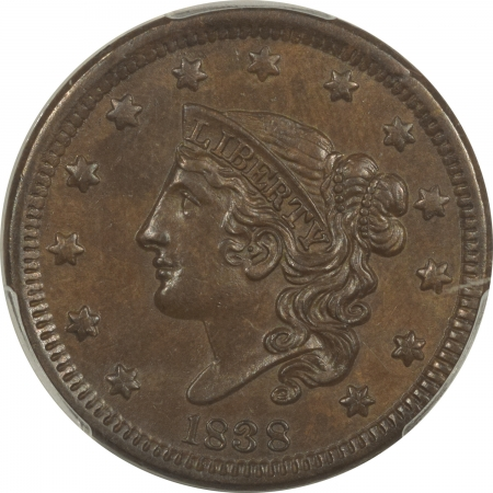 New Certified Coins 1838 CORONET HEAD LARGE CENT – PCGS MS-62 BN, SMOOTH CHOCOLATE BROWN