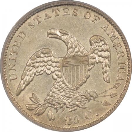 Capped Bust Quarters 1838 CAPPED BUST QUARTER – PCGS AU-53, ORIGINAL WHITE
