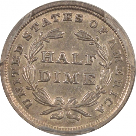 New Certified Coins 1839 LIBERTY SEATED HALF DIME – STARS, NO DRAPERY PCGS AU-55 LUSTROUS, PLEASING