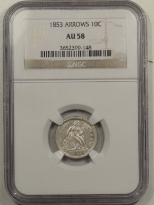 Coin World/Numismatic News Featured Coins 1853 LIBERTY SEATED DIME – ARROWS – NGC AU-58, FLASHY WHITE