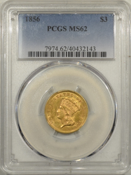 New Certified Coins 1856 $3 LIBERTY GOLD – PCGS MS-62 FRESH!