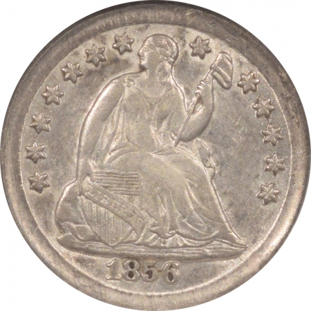 New Certified Coins 1856 LIBERTY SEATED HALF DIME NGC XF-45, LUSTROUS & LOOKS AU!