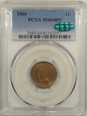 CAC Approved Coins 1866 INDIAN CENT – PCGS MS-64 BN CAC APPROVED!, FRESH & PQ!