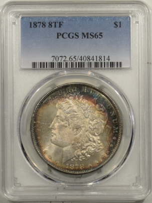 New Certified Coins 1878 8TF MORGAN DOLLAR – PCGS MS-65, PRETTY, FRESH GEM!