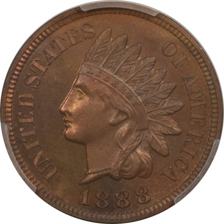 New Certified Coins 1888 PROOF INDIAN CENT PCGS PR-66 BN CAC, PRISTINE W/ LOTS OF RED, GOREGOUS