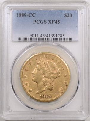 $20 1889-CC $20 LIBERTY GOLD – PCGS XF-45