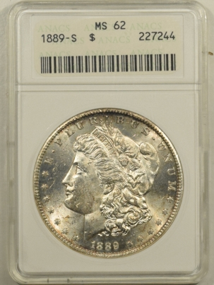 Coin World/Numismatic News Featured Coins 1889-S MORGAN DOLLAR – ANACS MS-62 OLD WHITE HOLDER & PREMIUM QUALITY!