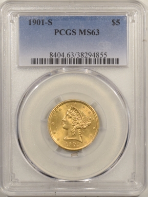 $5 1901-S $5 LIBERTY GOLD – PCGS MS-63
