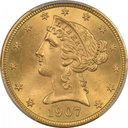 New Certified Coins 1907 $5 LIBERTY GOLD – PCGS MS-64+ PREMIUM QUALITY!