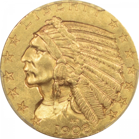 New Certified Coins 1908 $5 INDIAN HEAD GOLD – PCGS MS-63
