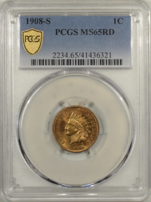 Indian 1908-S INDIAN CENT PCGS MS-65 RD, BLAZING RED & LUSTROUS! KEY DATE