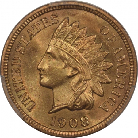 New Certified Coins 1908-S INDIAN CENT PCGS MS-65 RD, BLAZING RED & LUSTROUS! KEY DATE