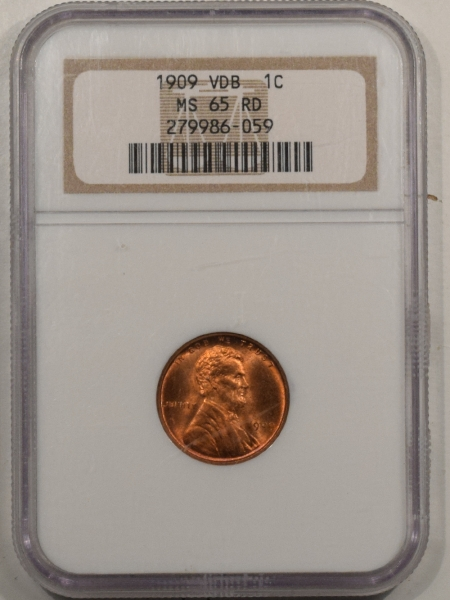 New Certified Coins 1909 VDB LINCOLN CENT – NGC MS-65 RD