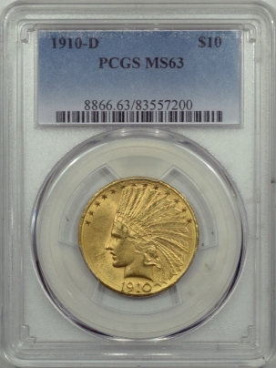 $10 1910-D $10 INDIAN HEAD GOLD – PCGS MS-63