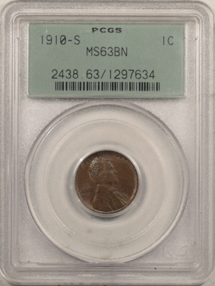Lincoln Cents (Wheat) 1910-S LINCOLN CENT – PCGS MS-63 BN, OLD GREEN HOLDER!