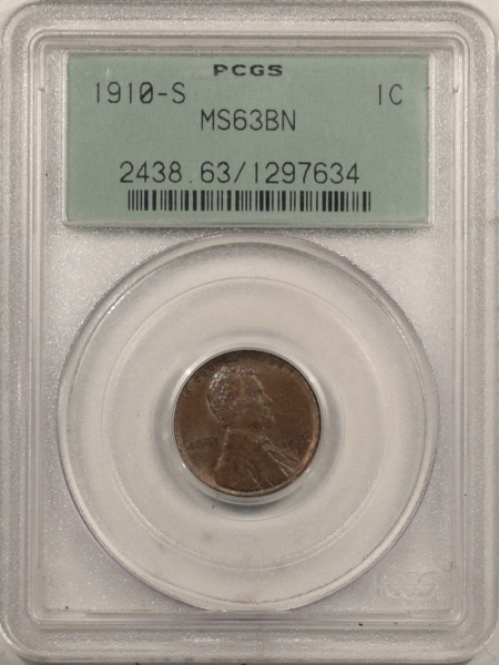 New Certified Coins 1910-S LINCOLN CENT – PCGS MS-63 BN, OLD GREEN HOLDER!