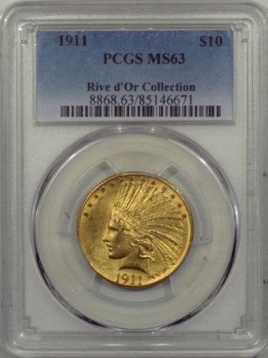 $10 1911 $10 INDIAN HEAD GOLD – PCGS MS-63