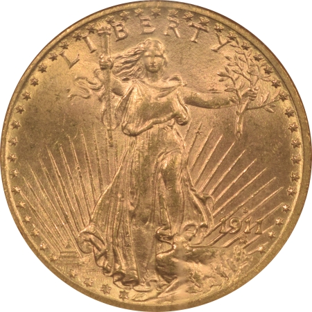 New Certified Coins 1911-D $20 ST GAUDENS GOLD – NGC MS-63 CHOICE!