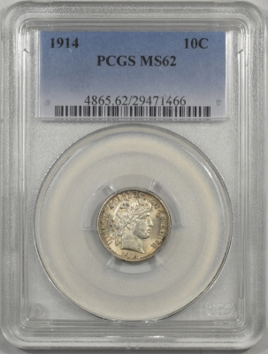 Barber Dimes 1914 BARBER DIME, PCGS MS-62, FRESH & FLASHY, PQ!