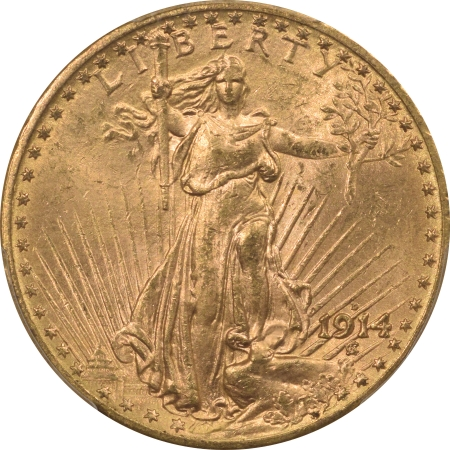 New Certified Coins 1914-D $20 ST GAUDENS GOLD – PCGS MS-64, FRESH & ORIGINAL