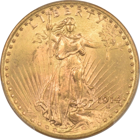 New Certified Coins 1914-D $20 ST GAUDENS GOLD – PCGS MS-65