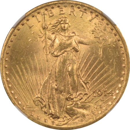 New Certified Coins 1914-S $20 ST GAUDENS GOLD – NGC MS-64+