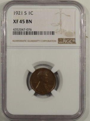 Lincoln Cents (Wheat) 1921-S LINCOLN CENT – NGC XF-45 BN