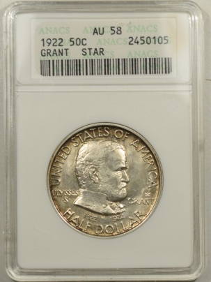 New Certified Coins 1922 GRANT WITH STAR COMMEMORATIVE HALF DOLLAR – ANACS AU-58 FLASHY & PQ!