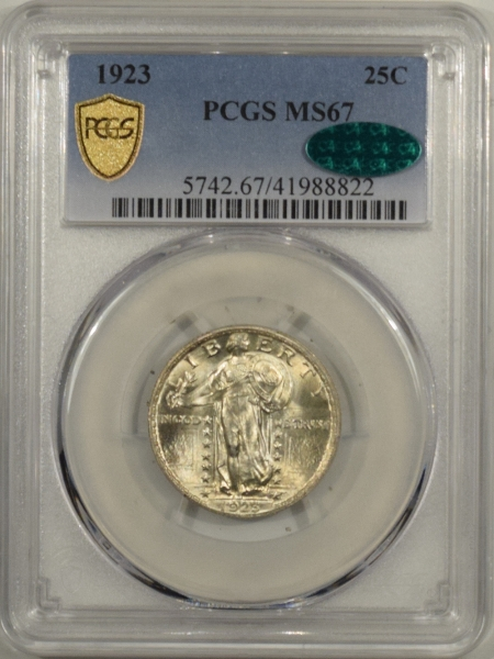 New Certified Coins 1923 STANDING LIBERTY QUARTER – PCGS MS-67 PQ, VIRTUALLY FLAWLESS & CAC APPROVED